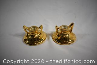 Pair of Candle Holders-hand decorated 24k gold