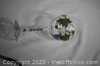 NIB Hand Painted Wine Glasses