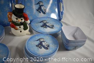 63 Pieces in this lot - Snowman, Snowman Plates, Trays and Bowls