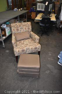 Chair, Pillow and Storage Ottoman