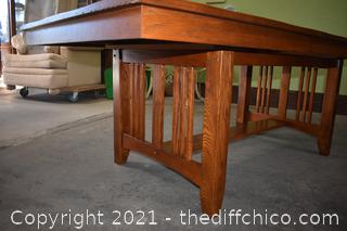 Mission Style Oak Table w/1 leaf