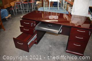 Mahogany Desk w/Glass Top