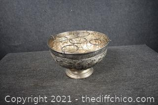 Vintage Silver-plate Champagne Bowl with Bottle Holder