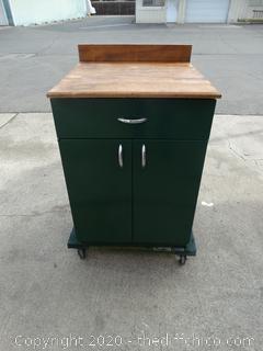 Metal Cabinet w/ Wood Top