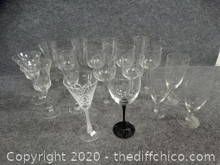 Glassware (3 more Black Stemmed Wine Glasses Found & Added to Lot)
