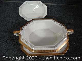 18K Gold Serving Dish & Platter