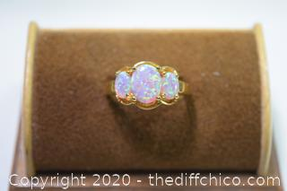 24k Gold Plate over 925 Opal Ring Size 10