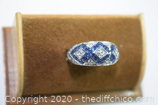 Diamond and Sapphires 925 Ring - size 10