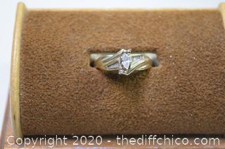 10k Gold w/Diamonds Ring - size 4 1/4