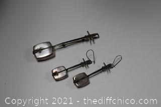 Sterling Silver Japanese Shamisen Brooch and Earrings