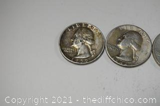 4 Jefferson Quarters 90% Silver