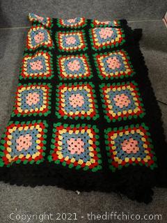 "Crocheted Blanket 96""x140"""