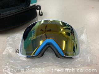 Winterial Frameless Ski & Snowboard Goggles with Case - Teal (J15)