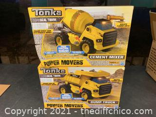 Tonka Power Movers Trucks - Cement Mixer & Dump Truck (J55)