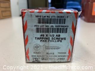 """PFC #8 1/2"""" AB Pan Phillips Tapping Screws - 7 Boxes - 700 Total Screws (J95)"""