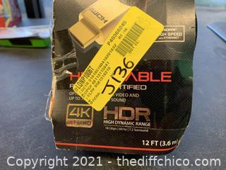 Blackweb BWA17AV001 12′ 4K HDMI Cable (J136)