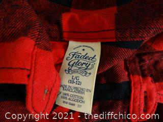 Kids Red Flannel Shirt Faded Glory Large 10-12