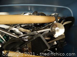 Tub Of Kitchen Silverware & Utensils