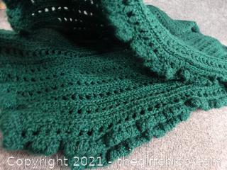 Green Crocheted  Blanket