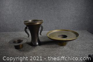 Vintage Japanese Metal Ikebana Vase