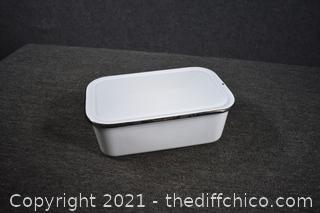 White Enamel Pan with Lid