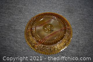 Amber Glass Divided Dish