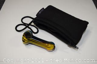 Hand Made Glass Pipe w/case