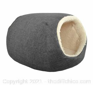 """Boots & Barkley Small Pet Cave Bed, 16"""" x 12"""" x 10"""", Pets up to 25lbs, Gray"""