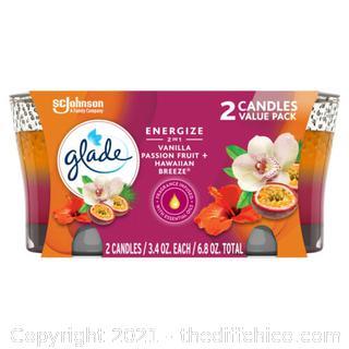 Glade 2in1 Jar Candle 2 CT, Hawaiian Breeze & Vanilla Passion Fruit, 6.8 OZ.