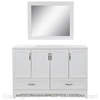 BRAND NEW! ($699) 48-in White Single Sink Bathroom Vanity with White Cultured Marble Top (Mirror Included)