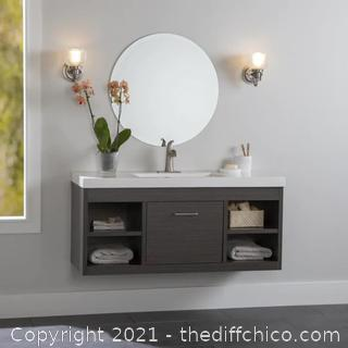 BRAND NEW ($299) Vada 48-in Sable Single Sink Bathroom Vanity with White Cultured Marble Top