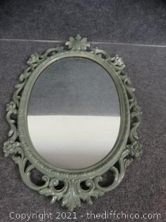 Green Framed Oval Mirror