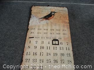 """Metal Bird Calendar Changeable 13"""" x 22"""""""