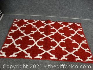 "Red & White Throw Rug 34"" x 20"""