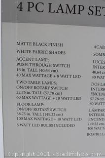 NEW ($119) J. Hunt Home 4 pc Lamp Set Ca