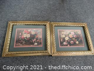 2 Flower Pictures in Frames