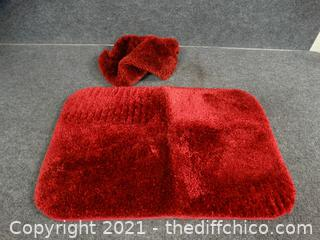 Red Rug & Toilet Cover