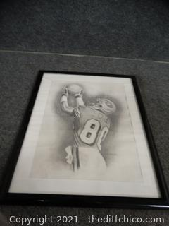 Hand Drawn Jerry Rice Signed Picture