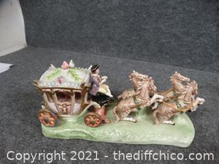 Ceramic Carriage With Horses