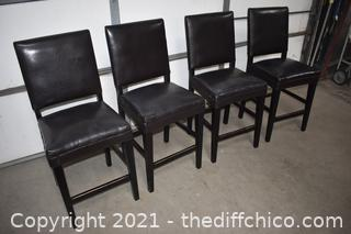 4 Black Stools w/backs