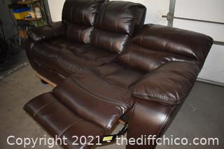 Leather Chocolate 89in wide Sofa Recliner-no tears