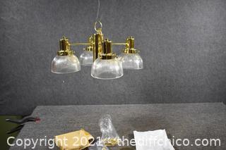 5 - New Chandeliers w/4 Glass Shades