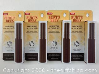 -4-PACK-Burt's Bees Renewing Lip Treatment 100% Natural Origin