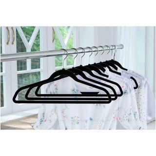 Set of 50 Non-Slip Premium Flocked Velvet Hangers For Suit/Shirt/Pants