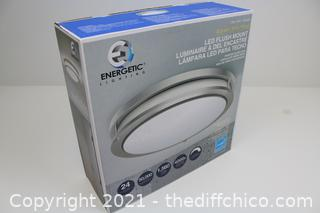 "NEW Energetic Lighting 14"" LED Flush Mount 24W 50K Hours 1560 Lumens Dimmable"
