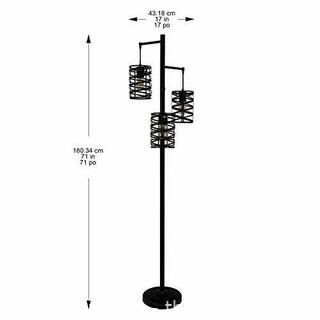 "J.Hunt Home Brady 3-Arm Metal LED Floor Lamp Bronze 72"" Edison Style"