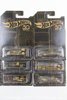 Hot Wheels 50th Anniversary Black & Gold 2018 SET OF 6 Cars!