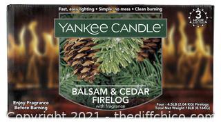 NEW Box of 4 Yankee Candle Balsam & Cedar Scented Firelogs