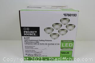 NEW 6-Pack 9-in Brushed Nickel Traditional LED Flush Mount Light ENERGY STAR