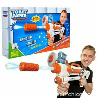 NEW Toilet Paper Blasters Sheet Storm Toy Blaster Shoots Rapid Fire TP Spitballs